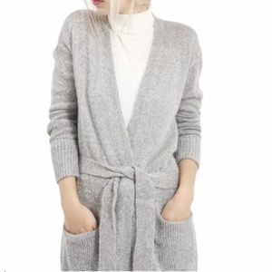 Topshop | Long Gray Belted Cardigan Size 12